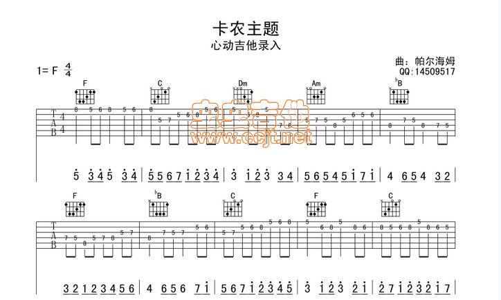 如何看懂 天空之城 卡农 等曲谱 民谣吉他交流图片